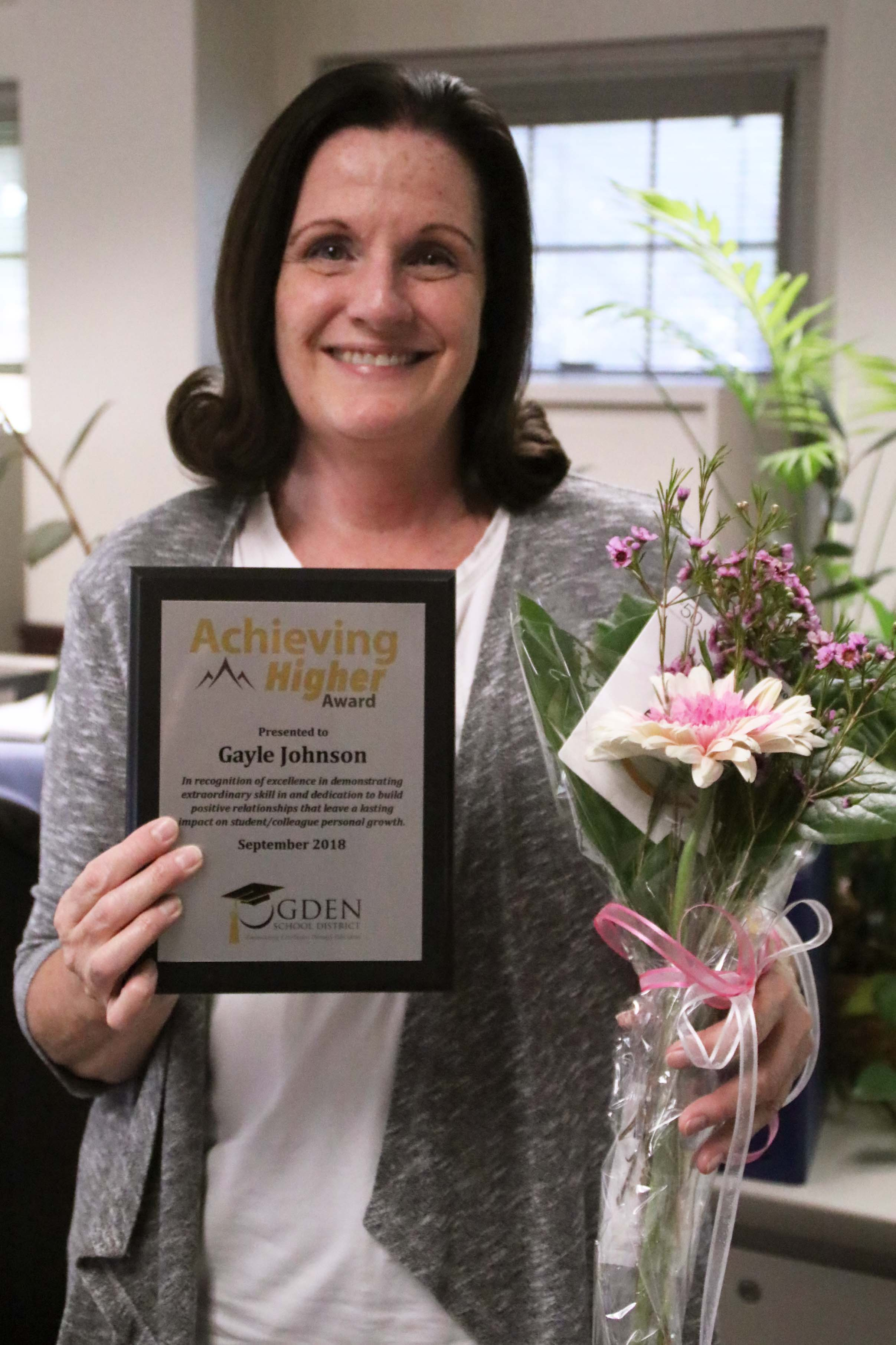 Congratulations to Gayle Johnson for being honored with the September Achieving Higher